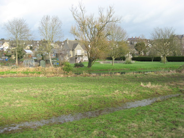 Water meadows beside the River Avon in Malmesbury