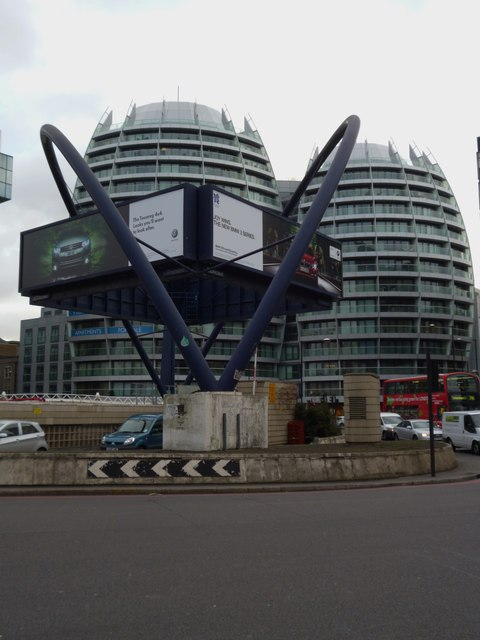 Buildings and artwork, Old Street Station Roundabout EC1