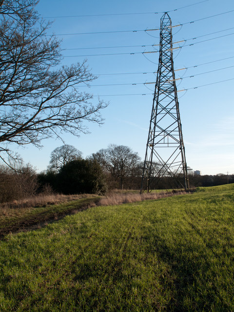 Electricity transmission pylon in field