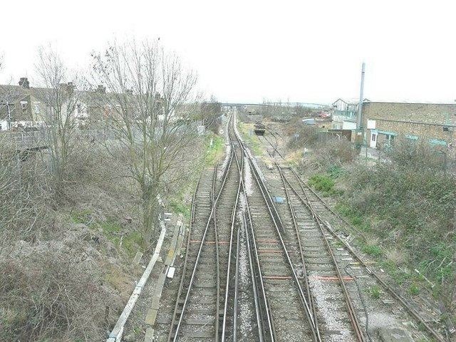 Railway tracks south of Queenborough station