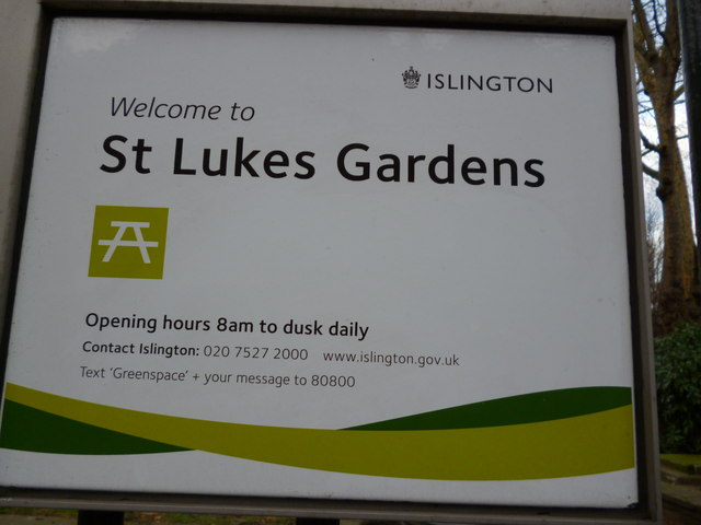 Sign, St Lukes Gardens, Mitchell Street EC1