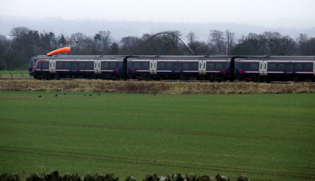 Train passing Edinburgh Airport