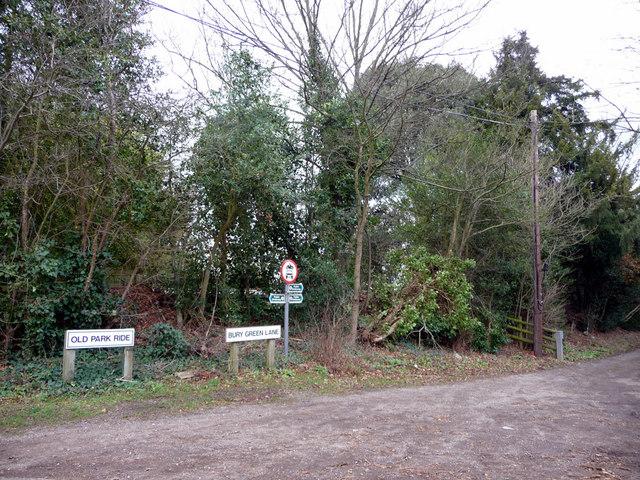 Old Park Ride and Bury Green Lane, Bulls Cross, Enfield