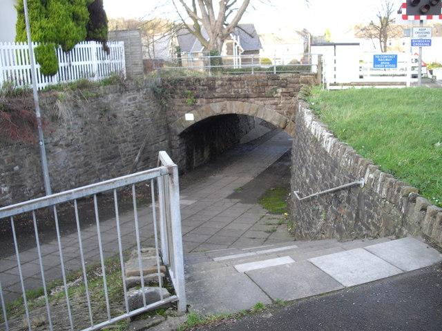 Footway beneath railway, beside level crossing, Rhiwderin