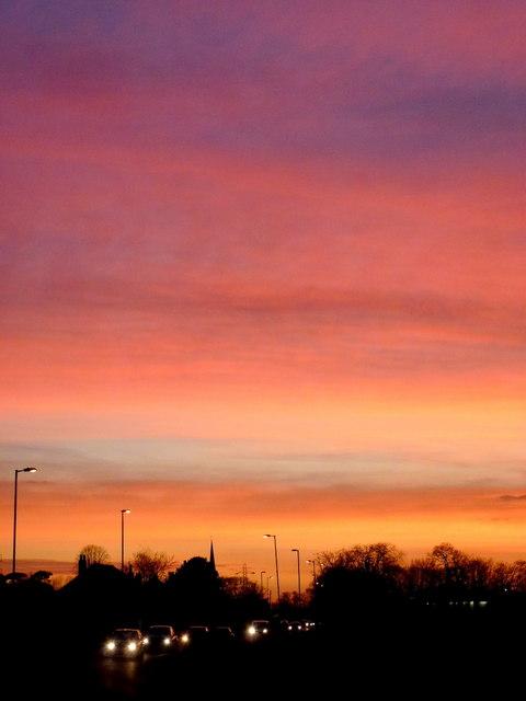 Colourful dusk over Twigworth 2