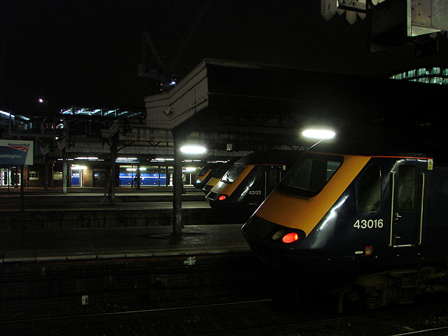 A line-up of High Speed Trains at Paddington Station
