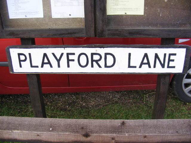Playford Lane sign