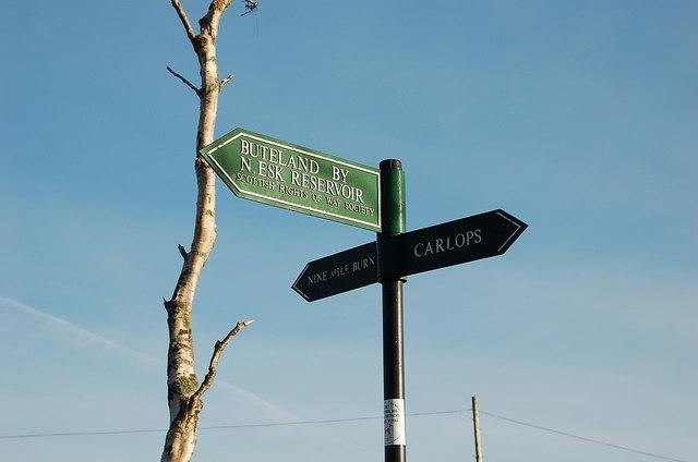 Footpath sign near Nine Mile Burn