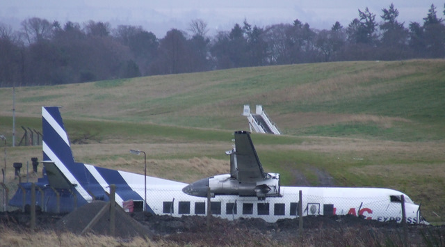 Scrap aircraft at Edinburgh Airport