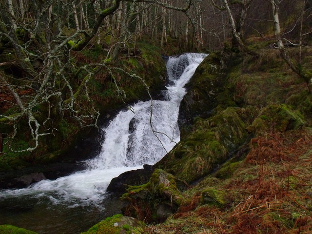 Small fall in the course of Allt Bhrachain in Glen Lyon