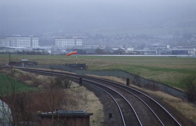 Railway line passing Edinburgh Airport