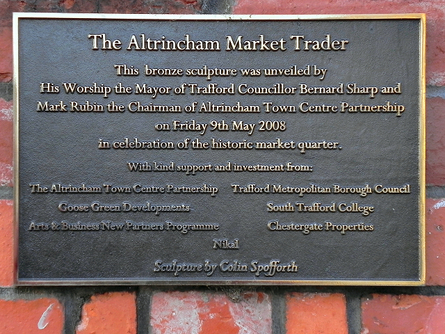 The Altrincham Market Trader - Plaque