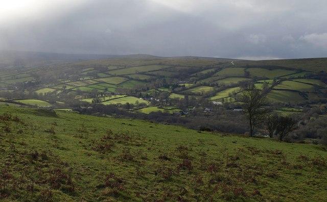 Widecombe from near Bonehill Rocks