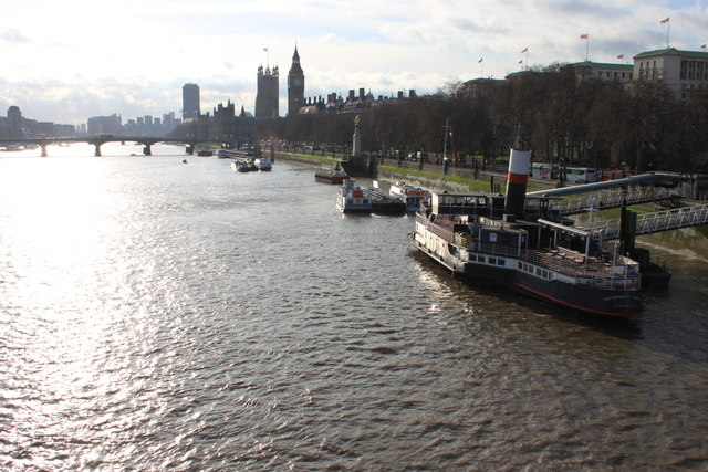 The north bank of the Thames from the Golden Jubilee Bridge