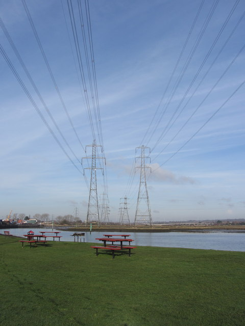 Electricity pylons, Eling Great Marsh