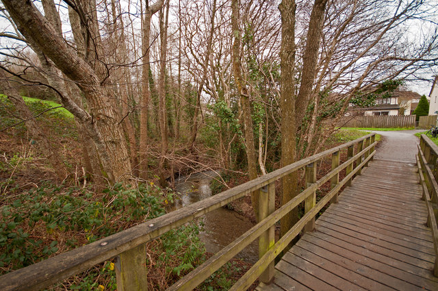 The view upstream from a footbridge which takes the cycle path over Coney Gut