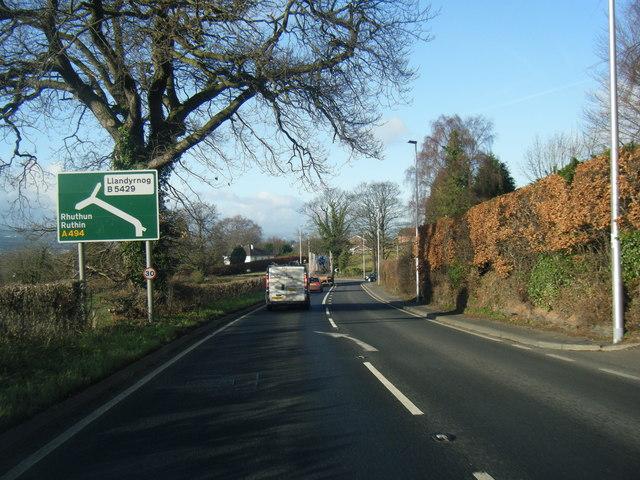 A494 at Llanbedr-Dyffryn-Clwyd