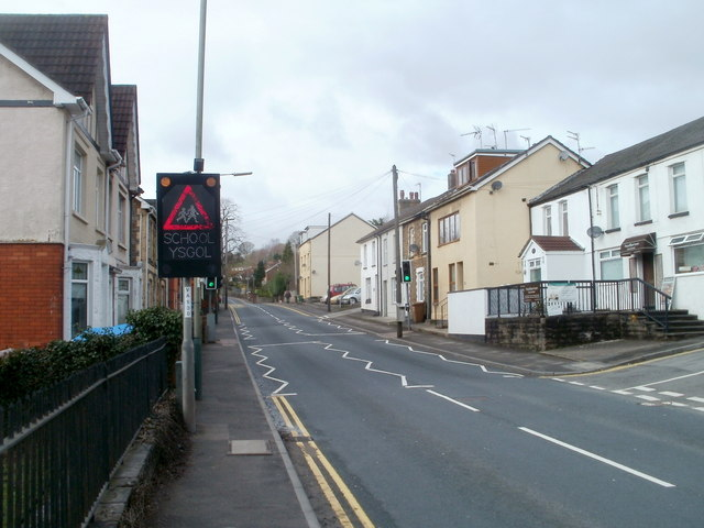 School ahead, Commercial Road, Machen