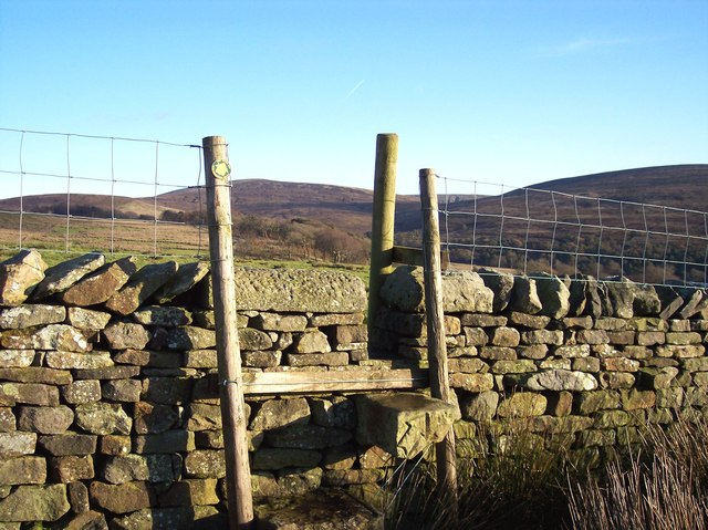 Wall stile at Hind Hill on Wyre Way