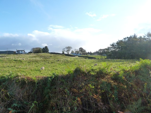 Looking across the fields to the cottages on the A710