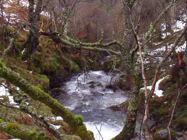 Allt Bhrachain in Glen Lyon entering 'deeper' ground above its waterfall