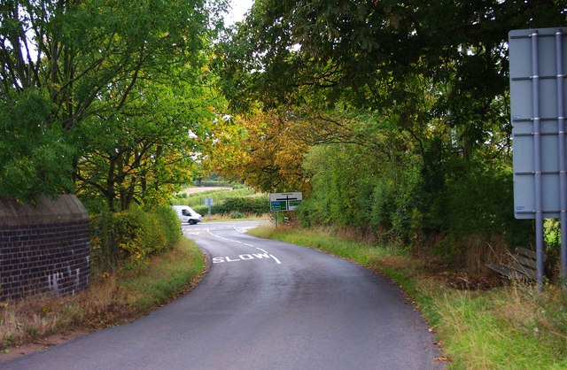 Rectory Road approaching the junction with the A41 road, near Donington