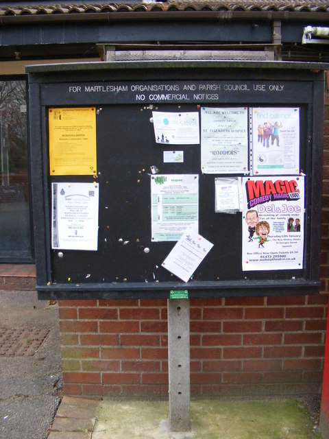Martlesham Village Notice Board in The Square