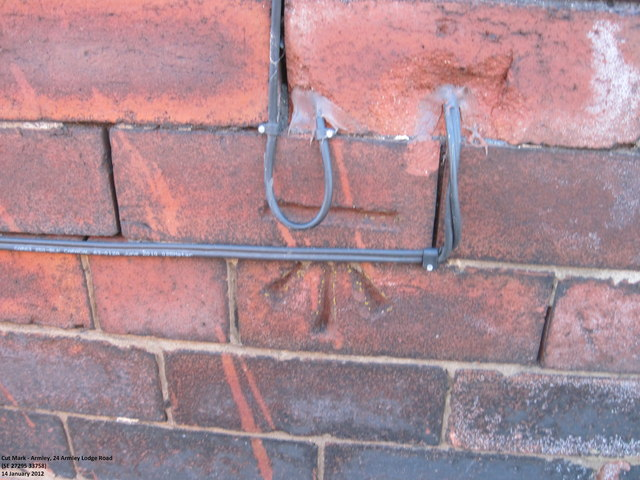 Ordnance Survey Cut Mark on wall of 24 Armley Lodge Road, Armley