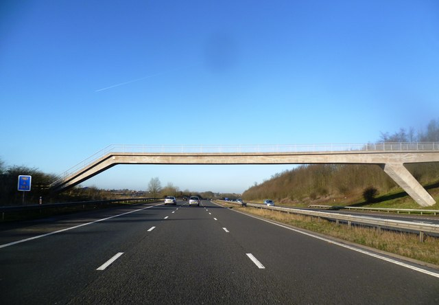 Footbridge over the M61 near Bibbys Farm