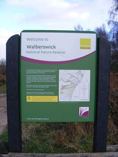 Sign at Walberswick National Nature Reserve