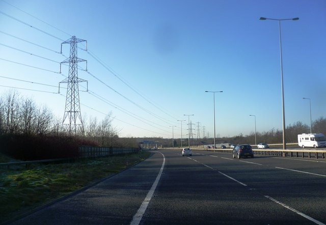 High Voltage Power Lines Cross the M65
