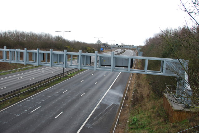 Gantries over M6 looking towards junction with the M54
