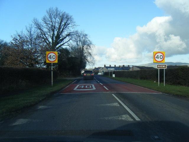 A525 at Rhewl village