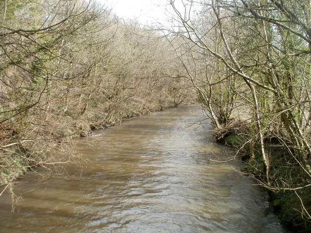 River Rhymney downstream from a footbridge at the edge of Machen Forge Trail