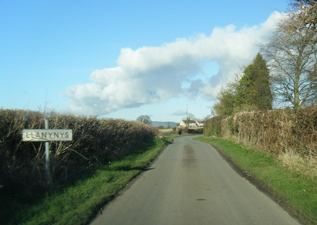 Llanynys village sign on lane