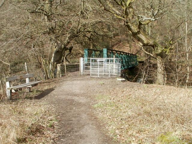 Kissing gate at southern edge of River Rhymney footbridge
