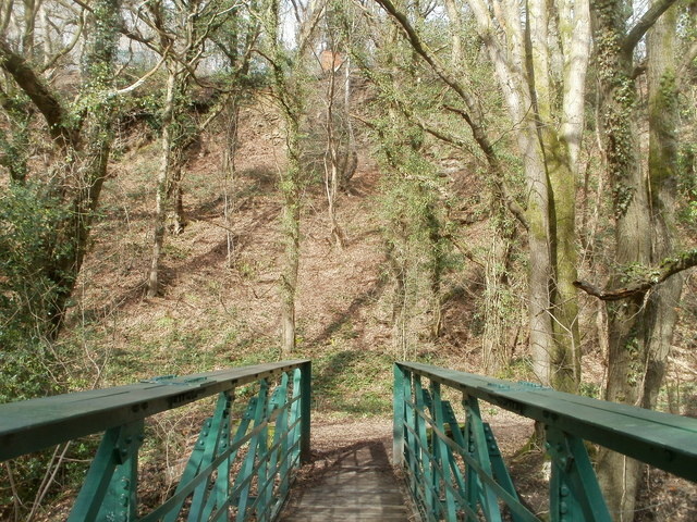 Steep ground on the north side of River Rhymney footbridge, Machen