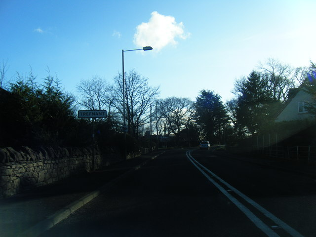 Saint Asaph Road at Trefnant village boundary