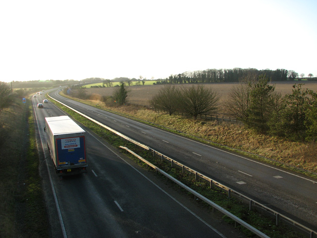 The A47 road to King's Lynn, Swaffham
