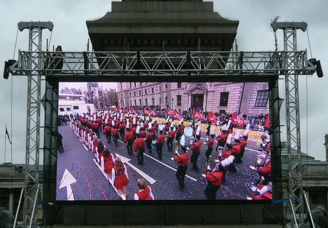 TV screen, Trafalgar Square, New Year's Day, 2012
