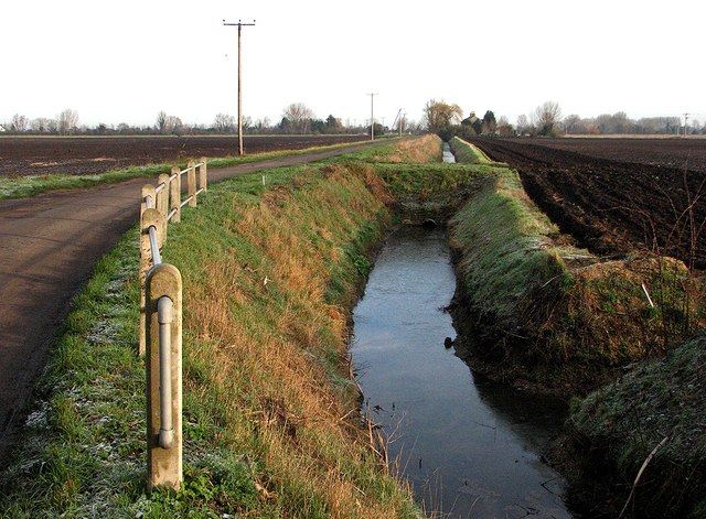 Long Drove: posts and a ditch