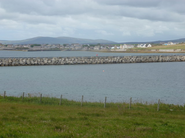 Lamb Holm: view across the Churchill Barrier towards Holm