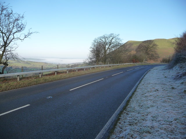 Part of the A483 (T) above Cwmyrhiwdre near Newtown, Powys