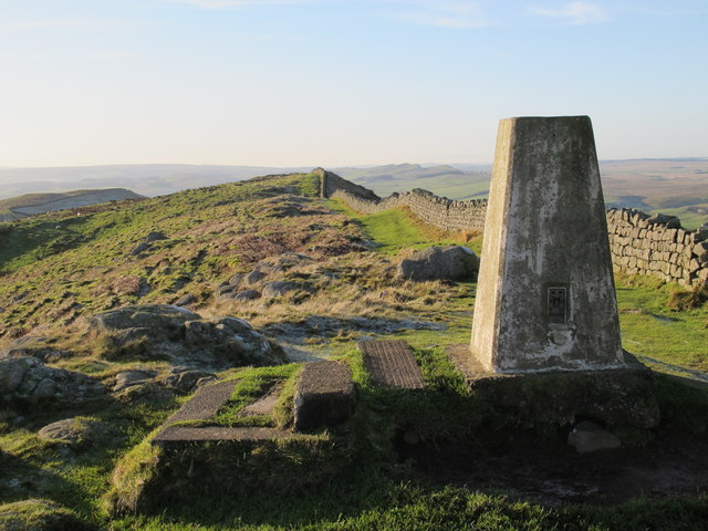 Trig point on Hadrian's Wall above Winshield Crags