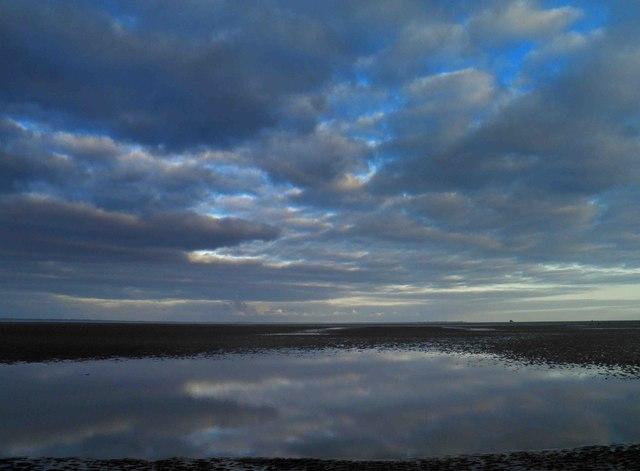 Dusk over the Humber Estuary from Cleethorpes beach
