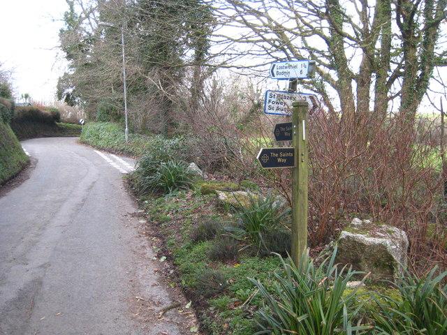 Saints' Way sign at Lanlivery