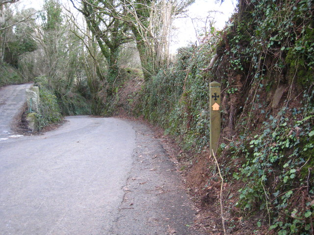Saints' Way sign east of Lanlivery