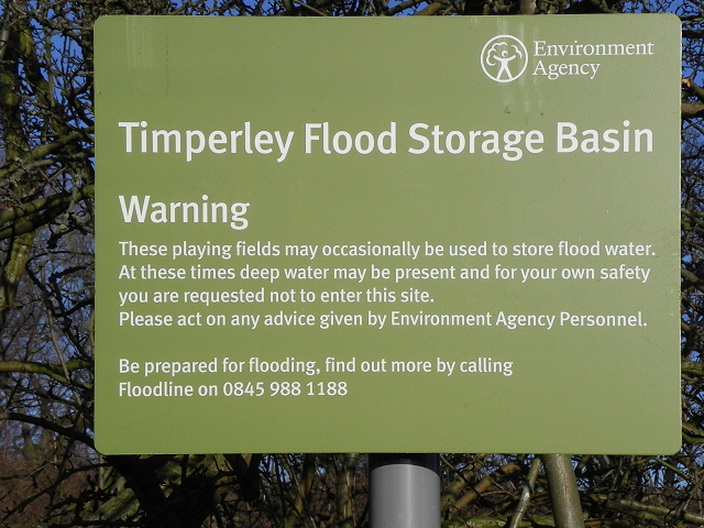 Timperley Flood Storage Basin - Warning Sign