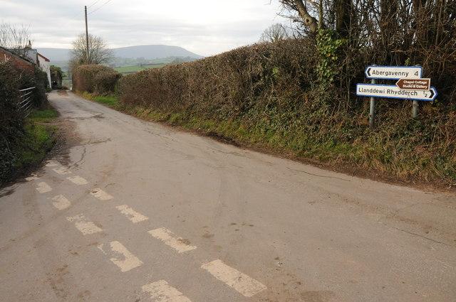 Road junction near Llanddewi Rhydderch