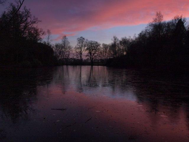 Frozen Craigend Pond at dusk